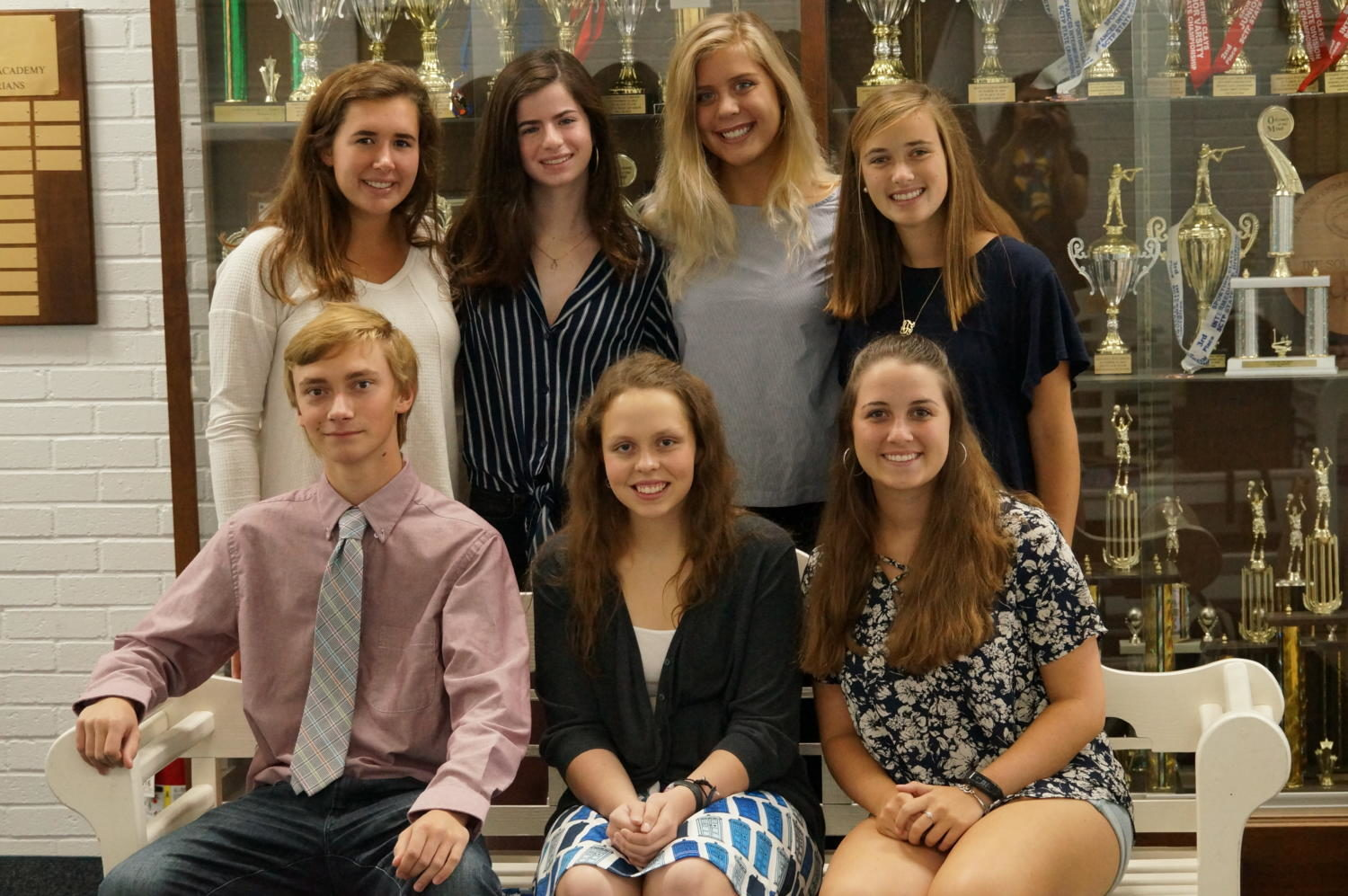 Top row (juniors; left to right): Haven Ross, Georgia Morris, Virginia Wooten, Ann Sumner Thorp Seated (seniors; left to right): Elias Moore, Holly Brantley, Lauren Seale