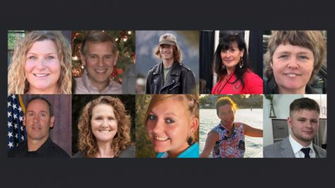 (Top row, from left) Tralona Bartkowiak, 49; Kevin Mahoney, 61; Denny Stong, 20; Jody Waters, 65; Teri Leiker, 51; (Bottom row, from left) Officer Eric Talley, 51; Suzanne Fountain, 59; Rikki Olds, 25; Lynn Murray, 62; Neven Stanisic, 23. (Photos courtesy of friends and family)